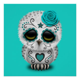 Blue Day of the Dead Baby Owl Poster