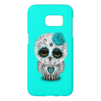 Blue Day of the Dead Baby Owl Samsung Galaxy S7 Case