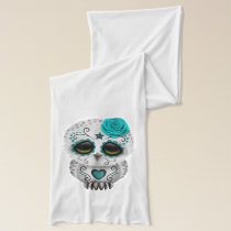 Blue Day of the Dead Baby Owl Scarf