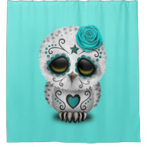 Blue Day of the Dead Baby Owl Shower Curtain