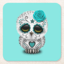 Blue Day of the Dead Baby Owl Square Paper Coaster