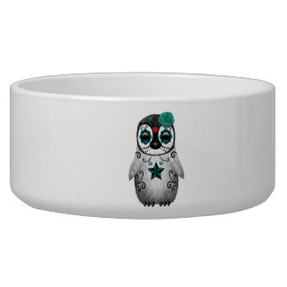 Blue Day of the Dead Baby Penguin Bowl