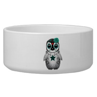 Halloween Themed Blue Day of the Dead Baby Penguin Bowl
