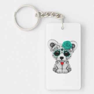 Blue Day of the Dead Baby Polar Bear Keychain