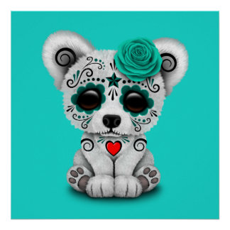 Blue Day of the Dead Baby Polar Bear Poster