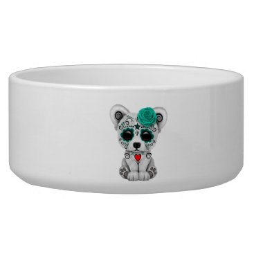 Halloween Themed Blue Day of the Dead Baby Puppy Dog Bowl