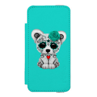 Blue Day of the Dead Baby Puppy Dog iPhone SE/5/5s Wallet Case