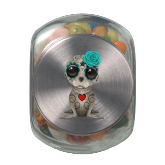 Blue Day of the Dead Baby Sea Lion Jelly Belly Candy Jar