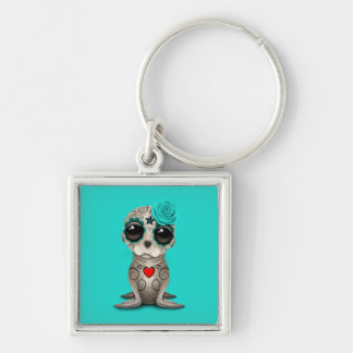 Blue Day of the Dead Baby Sea Lion Keychain