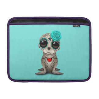 Blue Day of the Dead Baby Sea Lion MacBook Sleeve