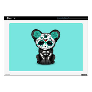 Blue Day of the Dead Black Panther Cub Decal For Laptop