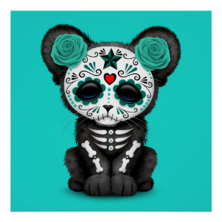 Blue Day of the Dead Black Panther Cub Poster