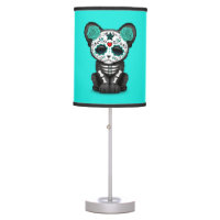 Blue Day of the Dead Black Panther Cub Table Lamp