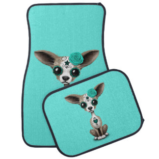 Blue Day of the Dead Chihuahua Car Floor Mat