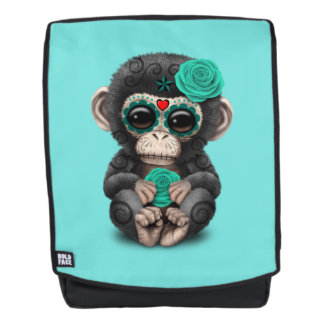 Blue Day of the Dead Chimp Backpack