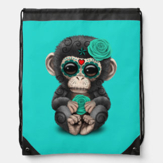 Blue Day of the Dead Chimp Drawstring Bag