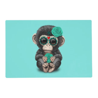 Blue Day of the Dead Chimp Placemat