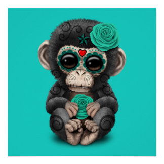Blue Day of the Dead Chimp Poster