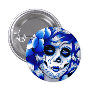 Blue Day of the Dead Girl Button