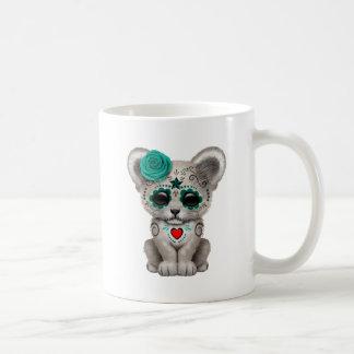 Blue Day of the Dead Lion Cub Coffee Mug