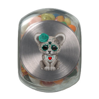 Blue Day of the Dead Lion Cub Jelly Belly Candy Jar