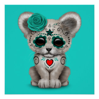 Blue Day of the Dead Lion Cub Poster