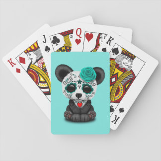 Blue Day of the Dead Panda Cub Playing Cards