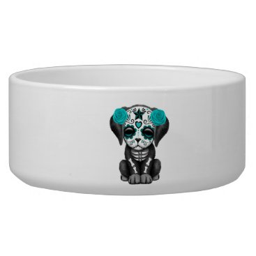 Halloween Themed Blue Day of the Dead Puppy Dog Bowl