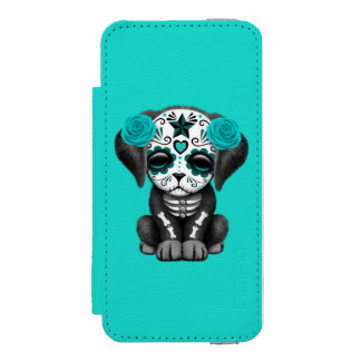 Blue Day of the Dead Puppy Dog Wallet Case For iPhone SE/5/5s