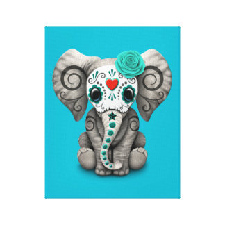 Blue Day of the Dead Sugar Skull Baby Elephant Canvas Print