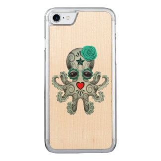 Blue Day of the Dead Sugar Skull Baby Octopus Carved iPhone 7 Case