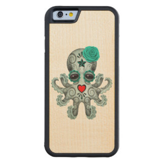 Blue Day of the Dead Sugar Skull Baby Octopus Carved Maple iPhone 6 Bumper Case