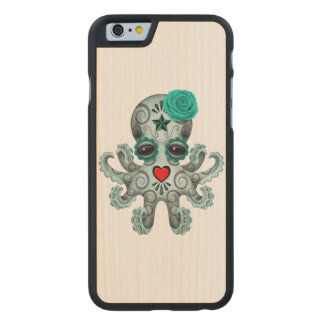 Blue Day of the Dead Sugar Skull Baby Octopus Carved Maple iPhone 6 Case