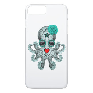 Blue Day of the Dead Sugar Skull Baby Octopus iPhone 7 Plus Case