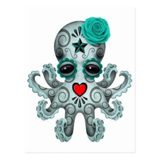 Blue Day of the Dead Sugar Skull Baby Octopus Postcard