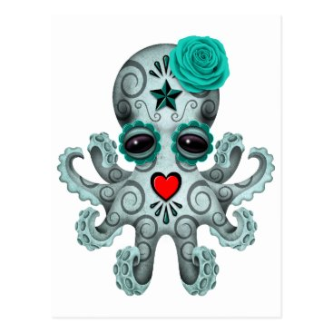 Toddler & Baby themed Blue Day of the Dead Sugar Skull Baby Octopus Postcard