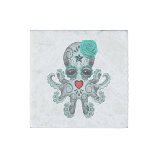 Blue Day of the Dead Sugar Skull Baby Octopus Stone Magnet