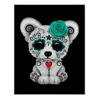 Blue Day of the Dead Sugar Skull Bear Black Poster