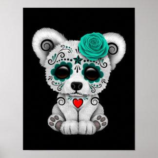 Blue Day of the Dead Sugar Skull Bear Black Print