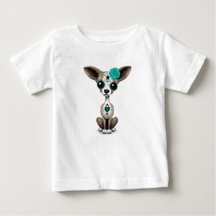 ef1bdff3 Blue Day of the Dead Sugar Skull Chihuahua Puppy Baby T-Shirt