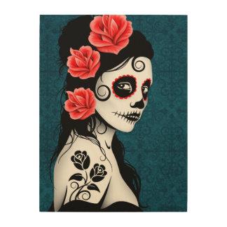 Blue Day of the Dead Sugar Skull Girl Wood Wall Art
