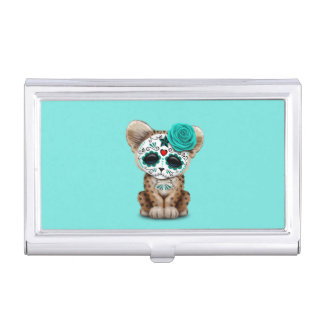 Blue Day of the Dead Sugar Skull Leopard Cub Business Card Case
