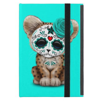 Blue Day of the Dead Sugar Skull Leopard Cub Case For iPad Mini