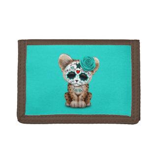 Blue Day of the Dead Sugar Skull Leopard Cub Trifold Wallet
