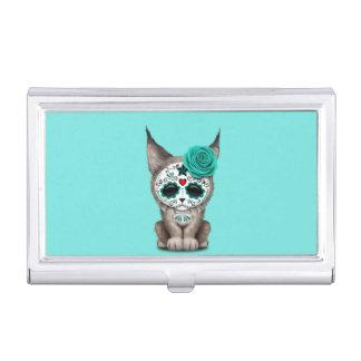 Blue Day of the Dead Sugar Skull Lynx Cub Business Card Case