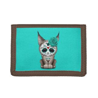 Blue Day of the Dead Sugar Skull Lynx Cub Trifold Wallet