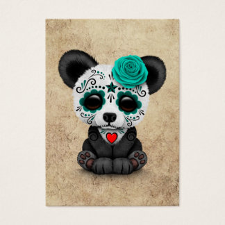 Blue Day of the Dead Sugar Skull Panda Aged Business Card