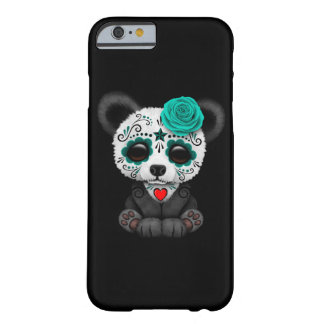 Blue Day of the Dead Sugar Skull Panda on Black Barely There iPhone 6 Case