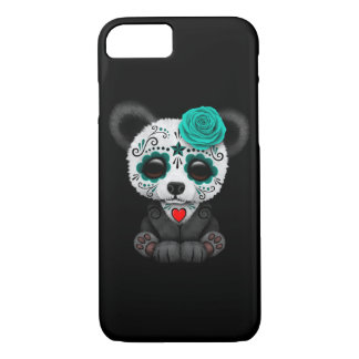 Blue Day of the Dead Sugar Skull Panda on Black iPhone 7 Case