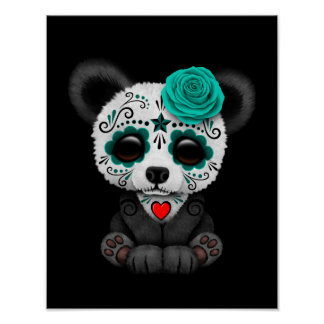 Blue Day of the Dead Sugar Skull Panda on Black Poster
